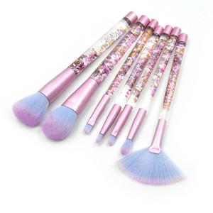 7 Pcs set Glitter Makeup Brushes Diamond Crystal Handle Set Powder Foundation Eyebrow Face Makeup Brush Cosmetic