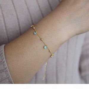 Fashion 925 Sterling Silver Bracelets & Bangles Dainty Double-layer Beaded Link Chain Gold Color Bracelet Wedding Gift J 190429