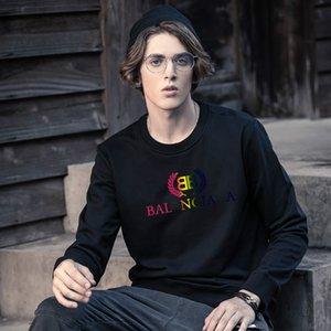 Размер США Толстовки Мужчины Теплый пуловер Streetwear balanciaga LOGO Печатный дизайн DIY Полосатый круглый воротник флис толстовки