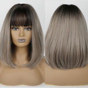 JONRENAU Women Fashion Cute Bob Wig Black Root Ombre Mixed Color Short Straight Synthetic Bob Wigs with Bangs
