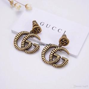 kutu ile İTALYA Lüks takı kadın küpe Retro Bakır Çift Gu..i tasarımcı Earrings en kaliteli elagant bayan küpe