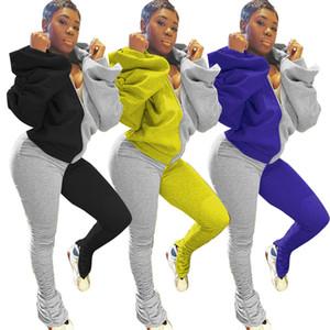 Las mujeres con paneles apilada ropa del juego sin respaldo de manga larga con capucha cremallera chaqueta de las sudaderas con capucha delgada de Split apiladas pantalones pantalones piezas Famale Dos