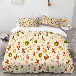 2/3 Pezzi Elk Bells Bedding Set di Natale copripiumino felice anno nuovo Bed Quilt Cover Set Home Textile