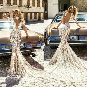 2021 Vintage Lace Mermaid Wedding Dresses High Neck Sheer Long Sleeves Bridal Gowns Arabic Sweep Train Vestidos De Novia Plus Size AL7149