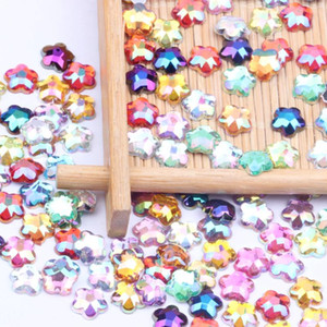 8mm 5000pcs Acrylic Rhinestones Flat Back Quincunx Earth Facets Many Colors Glue On Beads DIY Jewelry Making Accessories