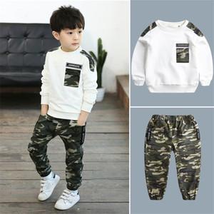 Kids Clothing Esporte Define Meninos Treino Outono Camouflage Crianças Tops Calças 2pcs Kit Outfit Adolescente Meninos Camouflage Treino