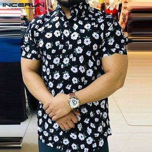 Moda Fiore Stampato maglia maniche corte uomo 2020 risvolto traspirante estate Mens camice hawaiane streetwear camicetta casual INCERUN hKsZ #