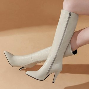 GIGIFOX Large Sizes 43 Thin High Heels Sexy Fashion Elegant Office Party Ladies Winter Shoes Woman Boots Female