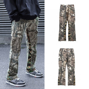 2020 New Gallery Dept Camuflaje Patchwork Pantalones Hombres Mujeres Parejas Pierna ancha Jeans High Street Hip-Hop Fox Fit Jeans