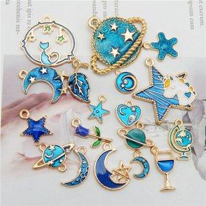 Julie Wang 10PCS Pairs Enamel Dark Blue Charms Random Mixed Star Moon Planet Leaves Pendants Alloy Jewelry Making Accessory