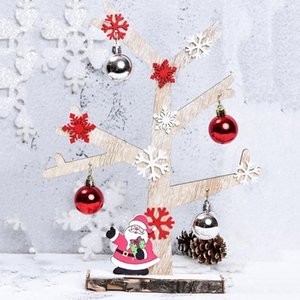 Mini escritorio de madera Feliz árbol de navidad decoración de la tabla del árbol de Navidad Adornos colgantes con Bell del copo de nieve de Santa Claus Colgante Decoración