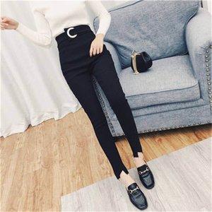 Mujeres Negro dril de algodón flaco Jean clásico lápiz botón de los pantalones de cintura delgada legging 2020 Fit mamá de la vendimia de la alta cintura de los pantalones vaqueros elásticos Femme