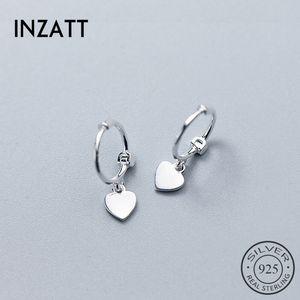 Hoop Huggie inza2021 Süße Herz Ohrringe für Charme Frauen Hochzeit Rosa Gold Farbe 925 Sterling Silber Modeschmuck Geschenk