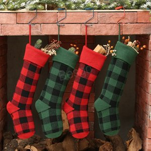 Knit Christmas Stockings Santa Claus Gift Plaid Stocking Christmas Decorations Plaid Socks Children Candy Gift Storage Bags BH4026 TQQ