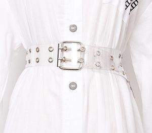 [LFMB] 두 행 PVC 명확한 벨트 여성 패션 핀 버클 여성 화이트 허리 바지 투명 벨트 여성 청바지 그롬 CX200722