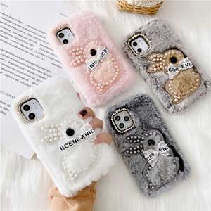 Pearl bunny Furry Case For iPhone 11 Pro MAX XR X XS MAX 7 8 6 6s Plus Fluffy Warm Rabbit Fur Cover