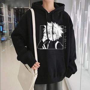 Японский Аниме Весёлые Глаза Killua HxH Толстовки 2020 Winter Japan Style X Hunter фуфайки Streetwear для женщин / мужчин