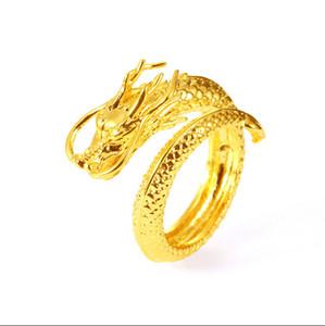Anneaux de mariage en gros Vietnam Gold Dragon Couple Bague Ouverture Anneau réglable