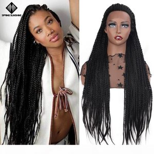 26inch Synthetic Glueless Braided Box Braid Lace Front Wigs Long Black Brown Purple Wig For Afro Women Daily Wear