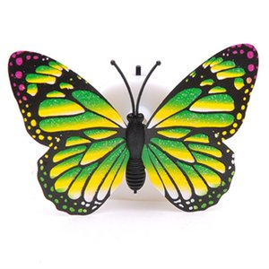 2020 Colorful Changing Butterfly LED Night Light Lamp Home Room wedding Party Desk Wall Decor with suction pad Children Gifts