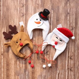 Christmas Hat Adult Children Brushed Cloth Long Rope Hats Cute Cartoon Santa Claus Snowman Elk Party Decoration Cap for Kids