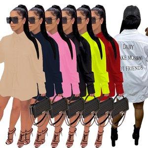 moda kadın elbiseleri sonbahar ve harflerle kış saf renk ofset baskı kadın uzun kollu gömlek etek kalça kaplı etek serbest D954