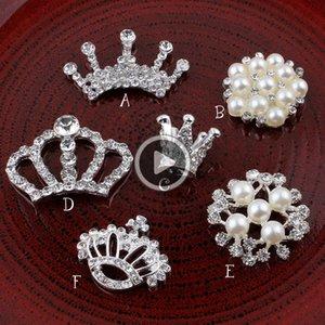 DIY Corona / Ronda / flor de la nieve Metal / Rhinestone de la perla de Flatback del arte Botones para Crystal Buttonss decorativo para el pelo Acssories DRP01