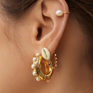YMYW Statement Chunky ad anello d'oro di modo degli orecchini perle imitazione rotonda orecchini per le donne Orecchini Donna gioielli in lega di zinco