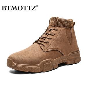 Vintage hombres botas de gamuza cuero occidental cargadores del tobillo de los hombres de trabajo impermeable invierno zapatillas de deporte de los calzados informales de vaquero Botas BTMOTTZ