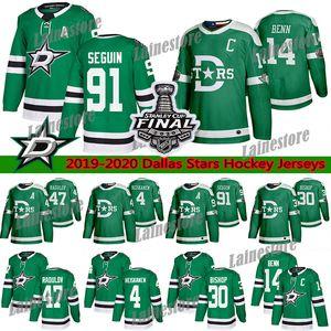 Dallas Stars Jersey 2020 Finales de la Copa Stanley 14 Jamie Benn 91 Tyler Seguin 4 Miro Heiskanen 30 Ben Bishop 47 Radulov los jerseys del hockey