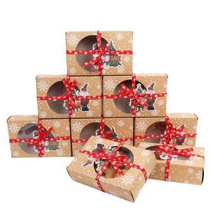 Şeffaf Pencereli 24pcs Kraft Kağıt Noel Çerez Hediyelik Kutular 18 * 12 * 5 cm Yılbaşı Çerezler Treats için Kutular Yana