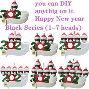 2020 Nombre de bricolaje Bendiciones muñeco de nieve del árbol de navidad que cuelgan Máscara colgante de PVC Punto Nueva Decoraciones de Navidad de Santa Claus rápida del envío gratis