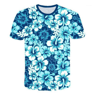 Sleeve Summer Tshirt Homme Crew Neck Casual Cloth Mens Clothing Designer Men Print T Shirt Colorful Hawaiian Style Short
