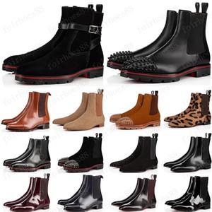 نمط جديد قيعان أحمر حذاء رياضة الرجال التمهيد المسامير من جلد الغزال جلد أحمر أحذية الرجال الوحيدة السوبر مثالية البطيخ للدراجات النارية التمهيد الكاحل للرجال