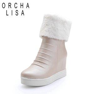 Orcha LISA зима клин высоких каблуки женщина молния теплые плюшевых снегоступы женщины высота увеличение платформа ботильоны