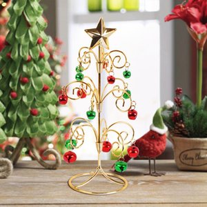 Miniature nuova Mini albero di Natale con Bell Jingle Bell Desktop Christmas Tree Ferro battuto per home office