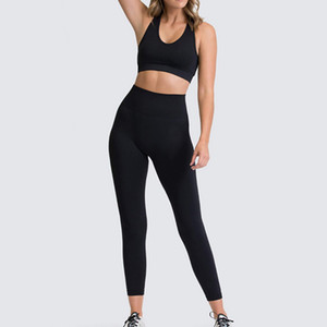 VERTIVE Sexy Yoga Set Women Sportswear Bra Leggings Fitness Pants Pure Color Gym Athletic Suit Exercise Sports Suit Outfits