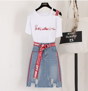 2018 Summer Women Sexy Shoulder Letter T-shirt + Denim Skirt 2 pcs sets Female Fashion Suits AB209