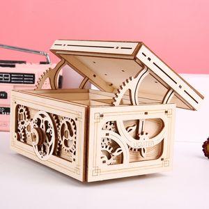 محرك خشبي 3D لغز نموذج الموسيقى صندوق مجوهرات DIY الميكانيكية نموذج كيت خشبي لغز منشئ الشكل لعبة الكبار هدية للأطفال