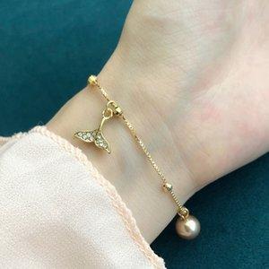 1PcsBohemia Bracelets Women Elegant Crystal Fishtail Pearl Chain Bracelet Beach Party Charm Jewelry Accessories Lover Gifts