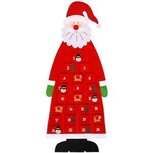 3D Santa Cepler ile Kapalı Ev Kapı Duvar Dekoru Red için Lockscreen Takvim Asma 24 Gün Advent Calendar 2020 Keçe