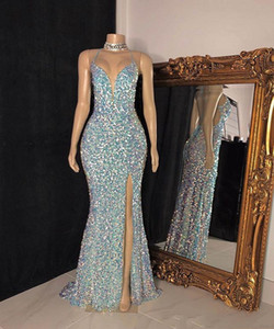 Candy Color Sparkly Sequined Evening Dresses 2021 Sexy Spaghetti Mermaid Long Slit Trumpet Prom Dress Wear Robe de soirée