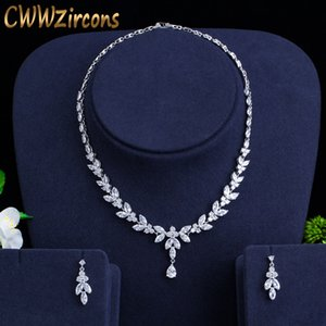 CWWZircons Brilliant Cubic Zircon Party Costume Necklace Earrings Wedding Bridal Jewelry Sets Dress Accessories T326 MX200810