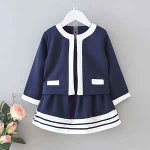 Children's Clothes New Fashion Girls Sets 2020 Spring Autumn Elegant Cardigan Coat+ Striped Skirt 2-piece Clothing Baby Girl Set