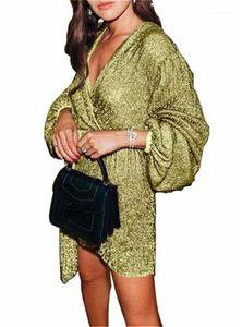 V Neck Sexy Womens Dress Summer Irregular Women Sequin Puff Sleeve Mini Dress Plus Size Nightclub Woman Dress