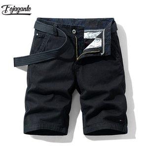 Men's Shorts FOJAGANTO Summer Casual Fashion Brand Slim Solid Knee Length Pants Comfortable Straight Male