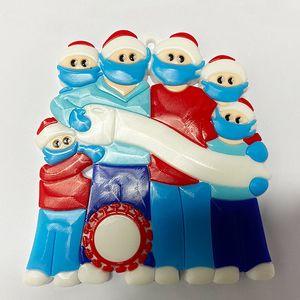 Sobrevivente árvore Pendant Natal da família de isolamento PVC Máscara do boneco de neve de suspensão Greetings Pendant Amazon DIY Nome Ornamento da decoração do Natal