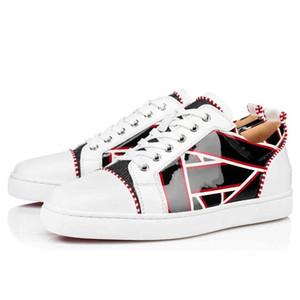 Zapatos de lujo para hombres Mujeres Red Bott Sneakers Graffiti Patente de Patente Spikes Spikes Zapatos Vestido de fiesta Zapatos Casuales Sneaker con caja