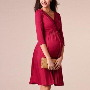 Maternity Dresses Deep V-neck Elegant Evening Dress Plus Size Breastfeeding Pregnancy Dress Maternity Clothes for Pregnant Women