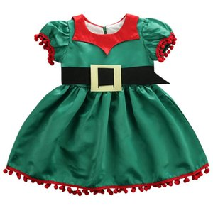 NEW 2020 Christmas Kids Baby Girls Princess Dress Toddler Puff Sleeve Tassel Dress Girl Party Tutu Xmas Fancy Clothes 1-5Y